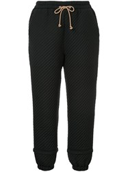 Nehera Podin Quilted Trousers Silk Cotton Polyester Wool Felt S Black