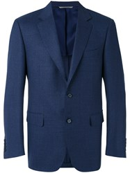 Canali Two Button Blazer Men Cupro Wool 52 Blue