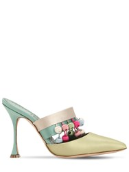 Manolo Blahnik 105Mm Schiaffino Satin Mules Green Multi