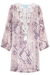 Taj Printed Silk Tunic With Beading Purple