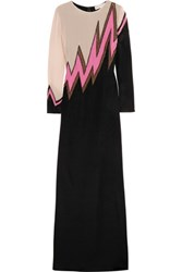 Emilio Pucci Beaded Chiffon Paneled Stretch Silk Jersey Gown Black