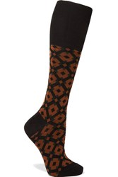 Marni Intarsia Cotton Blend Socks Brown