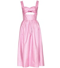 Rosie Assoulin Morning After Metallic Silk Blend Dress Pink