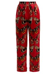 Dolce And Gabbana Butterfly Print Silk Blend Trousers Red Print