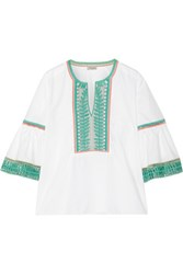 Temperley London Clara Embroidered Cotton Poplin Blouse White