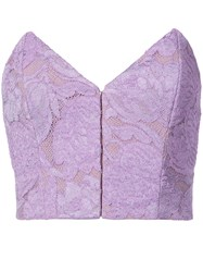 Fleur Du Mal Strapless Lace Top Pink And Purple