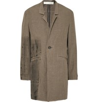 Isabel Benenato Painted Linen Overcoat Neutral