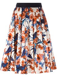 Fausto Puglisi Flared Floral Skirt Nude Neutrals