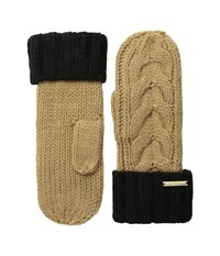 Michael Michael Kors Color Block Handknit Cable Mitten Camel Black Over Mits Gloves Tan