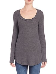 Splendid Long Sleeve Knit Thermal Tee Charcoal