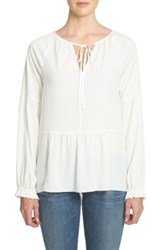 1.State Tie Neck Peasant Shirt White