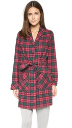 Three J Nyc Alex Flannel Robe Red Green Plaid