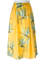 Fendi Bird Of Paradise Flower Print Skirt Yellow And Orange