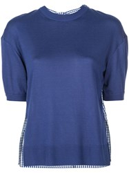 Adeam Gingham Panel Knitted Top Blue