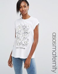 Asos Maternity T Shirt With Spot The Unicorn Print White