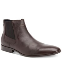 Calvin Klein Men's Clarke Tumbled Leather Dress Boots Men's Shoes Dark Brown