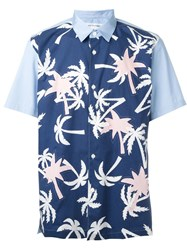 Comme Des Gara Ons Shirt Palm Tree Print Shortsleeved Shirt Blue