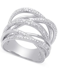 Macy's Diamond Orbital Ring 1 4 Ct. T.W. In Sterling Silver Or 18K Rose Or Yellow Gold Plated Sterling Silver