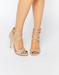 Miss Kg Steffan Strappy Heeled Sandals Gold Fabric