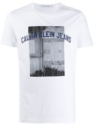 Calvin Klein Jeans Photo Print Slim Fit T Shirt White