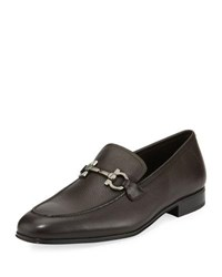 Salvatore Ferragamo Textured Calfskin Gancini Loafer Brown