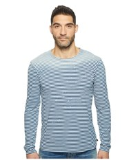 7 For All Mankind Long Sleeve Mariner Crew Navy White Stripe Men's Long Sleeve Pullover