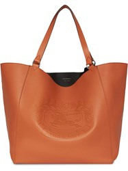Burberry Large Embossed Crest Bonded Leather Tote Brown
