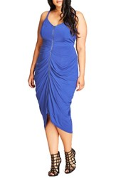 City Chic Plus Size Women's Zip Front Body Con Dress Pool