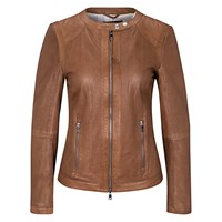 Oui Openwork Leather Jacket Toffee