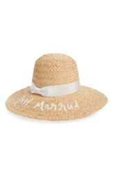Kate Spade New York Just Married Straw Hat Brown Cream White Black