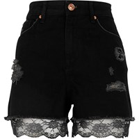 River Island Black Lace Hem High Waisted Denim Shorts