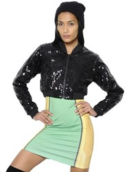 Adidas By Jeremy Scott Quilted Sequined Cropped Bomber Jacket