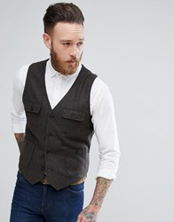 Asos Skinny Waistcoat In Brown With Button Pockets