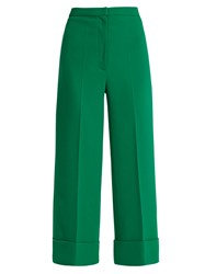 Duro Olowu High Rise Wide Leg Cropped Silk Crepe Trousers Green