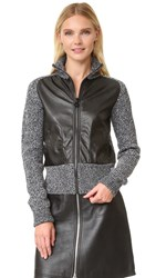 Carven Faux Leather Knit Jacket Black White