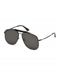 Tom Ford Connor Runway Aviator Sunglasses Black Smoke