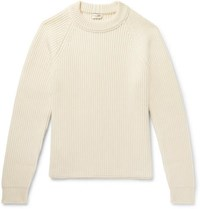Saint Laurent Ribbed Wool And Cashmere Blend Sweater Ivory