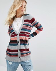 Abercrombie And Fitch Stripe Cardigan Wine Red