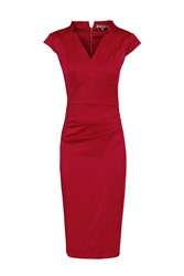 Jolie Moi V Neck Ruched Bodycon Dress Red