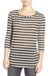 Splendid Stripe Scoop Neck Sweater Black