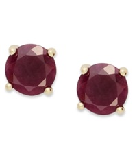 Victoria Townsend 18K Gold Over Sterling Sterling Earrings July's Birthstone Ruby Stud Earrings 2 Ct. T.W. None