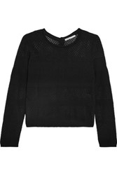 Maje Modene Open Knit Cotton Blend Cardigan Black
