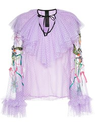 Romance Was Born Unicorn Beaded Blouse Silk Polyester Pink Purple