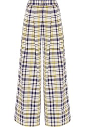 Adam By Adam Lippes Pleated Plaid Cotton Wide Leg Pants Yellow