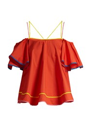 Anna October Ric Rac Trimmed Cotton Poplin Top Red