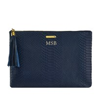 Graphic Image Uber Clutch In Embossed Python Leather Navy Personalized