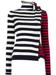 Monse Ruffled Striped Jumper Blue