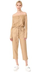 Robert Rodriguez Off Shoulder Jumpsuit Caramel