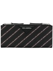 Karl Lagerfeld Striped Logo Folded Wallet Black