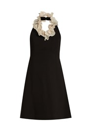 Isa Arfen Shrimpton Ruffled Neck Cotton Dress Black White